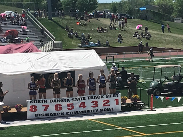 Girls 400 meter podium.