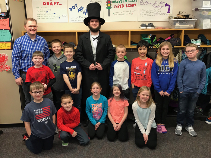 Abe even came outside for recess!